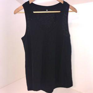 Tops - Plain black oversized V neck tank